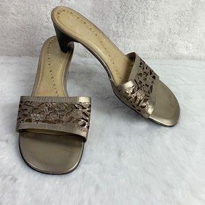 Hush Puppies Juliana Slip On Heel Shoe Sandal Gold
